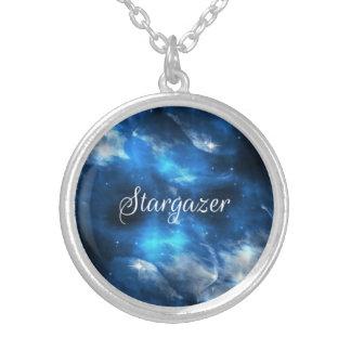 オリオンの星雲の宇宙の銀河系の占星家の青のネックレス シルバープレートネックレス