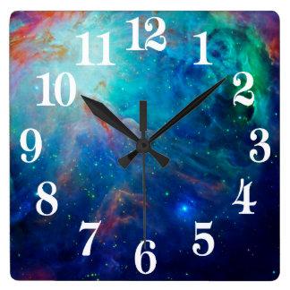 オリオンの星雲の揺らめく青NASA スクエア壁時計