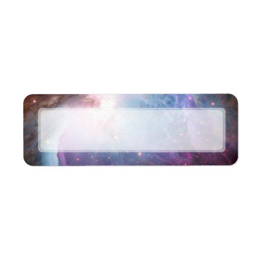 オリオンの星雲の紫色の宇宙 返信用宛名ラベル