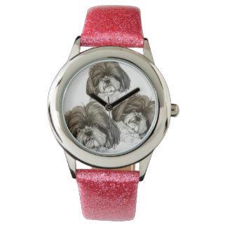 オリジナルのアートワークが付いているシーズー(犬)のTzuの腕時計 腕時計