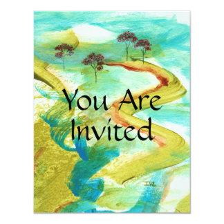 オリジナルの抽象芸術の絵を描くことからの招待状 10.8 X 14 インビテーションカード