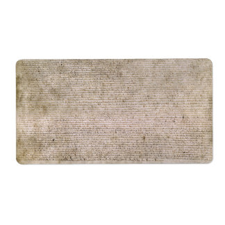 オリジナルの1215年のマグナCartaの英国図書館 発送ラベル