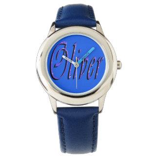 オリバーの名前、ロゴ、男の子の青い革腕時計 腕時計