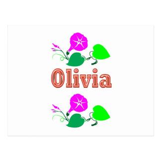 オリビアの女の子の名前の文字 ポストカード