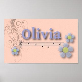 オリビアの音楽的な一流の寝室の子供部屋部屋 ポスター
