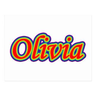 オリビア-虹-白の… ポストカード