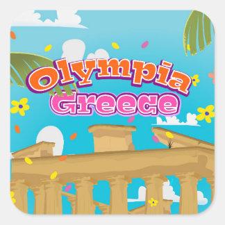 オリンピアのギリシャ旅行ポスター スクエアシール