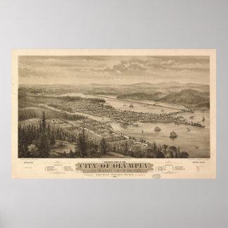 オリンピアワシントン州(1879年)のヴィンテージの絵解き地図 ポスター