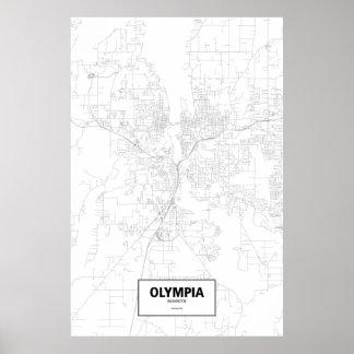 オリンピア、ワシントン州(白の黒) ポスター