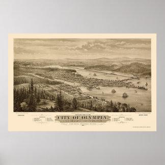 オリンピア、WAのパノラマ式の地図- 1879年 ポスター