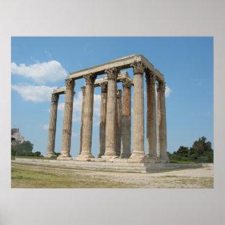 オリンピックのゼウス(アテネ)の寺院 ポスター