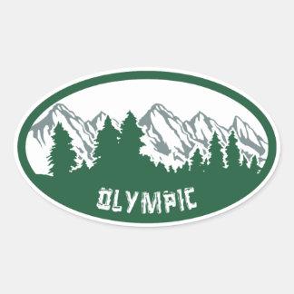 オリンピック国立公園のパノラマ 楕円形シール