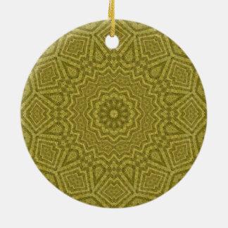 オリーブおよび金ゴールドの幾何学的な曼荼羅の芸術 セラミックオーナメント