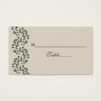 オリーブの枝の花輪の結婚式の座席表 名刺
