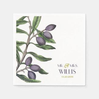 オリーブの枝|緑の紫色 スタンダードカクテルナプキン