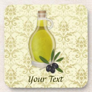 オリーブ油のボトルおよびダマスク織パターン コースター
