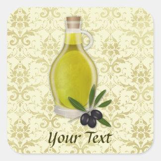 オリーブ油のボトルおよびダマスク織パターン スクエアシール