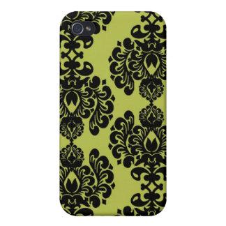 オリーブ色および黒くエレガントで華美なダマスク織 iPhone 4/4Sケース