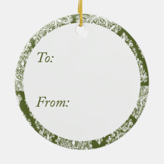 オリーブ色のクリスマスツリーの円のオーナメント セラミックオーナメント