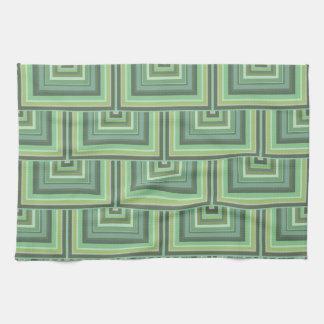 オリーブ色のストライブ柄の正方形のスケールパターン キッチンタオル