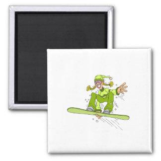 オリーブ色のスノーボードの女の子 マグネット