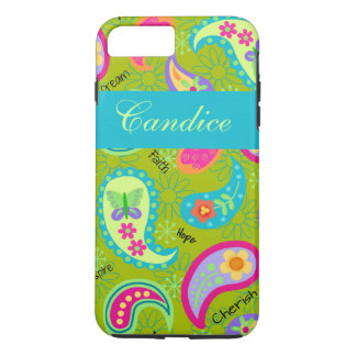 オリーブ色のターコイズのモダンなペイズリーの名前 iPhone 7 PLUSケース