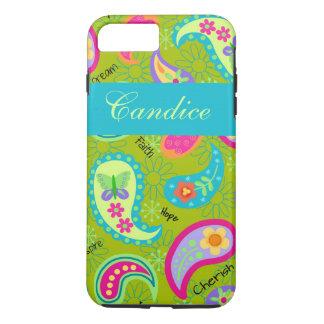 オリーブ色のターコイズのモダンなペイズリーの名前 iPhone 8 PLUS/7 PLUSケース