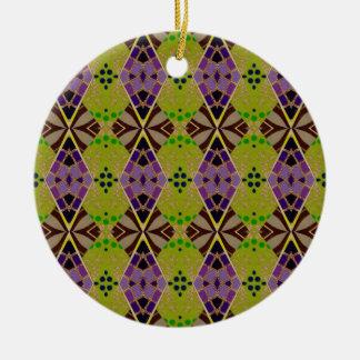 オリーブ色のデザインの円形のオーナメント セラミックオーナメント
