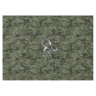 オリーブ色のデジタル迷彩柄のレオの(占星術の)十二宮図の印 テーブルクロス