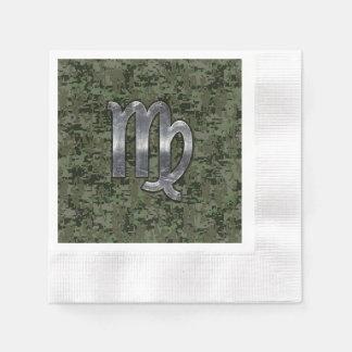 オリーブ色のデジタル迷彩柄の《星座》乙女座の(占星術の)十二宮図の印 縁ありカクテルナプキン