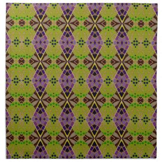 オリーブ色のパターン(の模様が)あるなデザインの布のナプキン ナプキンクロス