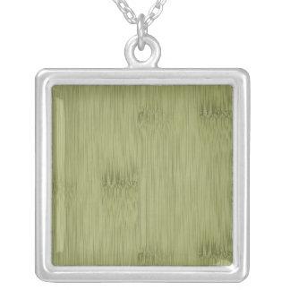 オリーブ色のモスグリーン木穀物のタケの一見 シルバープレートネックレス