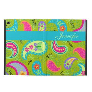 オリーブ色のモダン及び名前入りなトレンディーのペイズリー POWIS iPad AIR 2 ケース