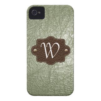 オリーブ色のレザールックのモノグラムのなiPhone 4/4s Case-Mate iPhone 4 ケース