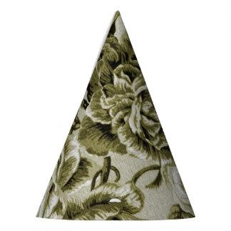 オリーブ色のヴィンテージ花のToile No.1 パーティーハット