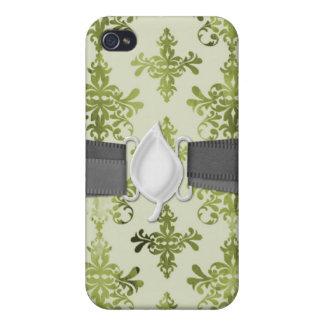 オリーブ色の動揺してなダマスク織 iPhone 4/4Sケース