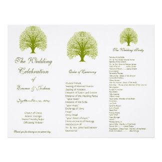 オリーブ色の渦巻の木の三重結婚式プログラム レターヘッド