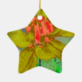 オリーブ色の花のダリアの花模様 陶器製星型オーナメント