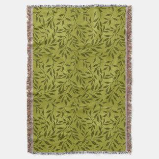オリーブ色の葉が多いつる植物パターン スローブランケット