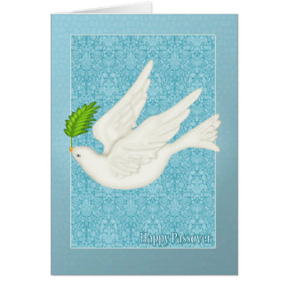 オリーブ色の葉との過ぎ越しの祝いのためのかわいらしい鳩 カード