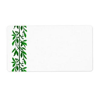 オリーブ色の葉のつる植物の芸術の大きいラベル ラベル