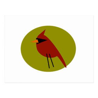 オリーブ色の赤い(鳥)ショウジョウコウカンチョウ ポストカード