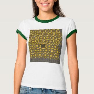 オリーブ色の金ゴールド織り方の信号器のティー Tシャツ