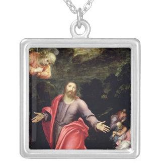 オリーブ、c.1590-95の庭のイエス・キリスト シルバープレートネックレス