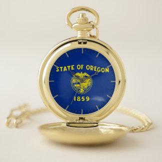 オレゴンの国家、米国の愛国心が強い壊中時計の旗 ポケットウォッチ
