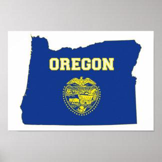 オレゴンの州の旗および地図 ポスター