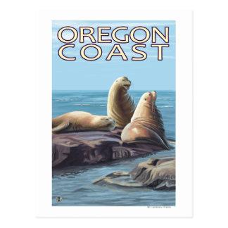 オレゴンの海岸のアシカ ポストカード
