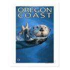 オレゴンの海岸のラッコ ポストカード