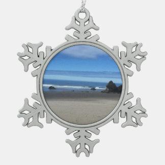 オレゴンの海岸の雪片のオーナメント スノーフレークピューターオーナメント