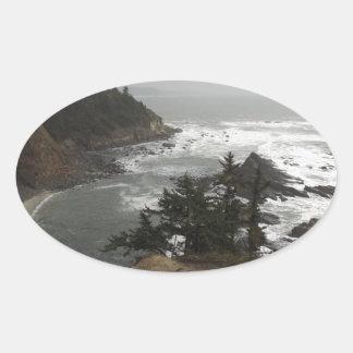 オレゴンの美しい海岸 楕円形シール